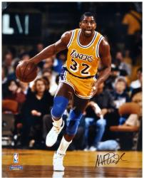 Magic Johnson Los Angeles Lakers Autographed 16'' x 20'' Dribbling Photograph  - Mounted Memories