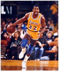 "Magic Johnson Los Angeles Lakers Autographed 16"" x 20"" Dribbling Photograph - Mounted Memories"