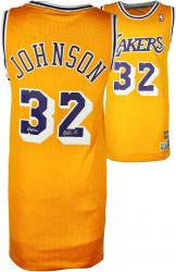 Magic Johnson Los Angeles Lakers Autographed Adidas Swingman Gold Jersey with HOF 02 Inscription