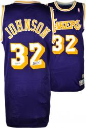 Magic Johnson Los Angeles Lakers Autographed Adidas Swingman Purple Jersey with HOF 02 Inscription - Mounted Memories