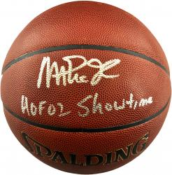 Magic Johnson Los Angeles Lakers Autographed Spalding Indoor Outdoor Basketball with HOF 02 Showtime Inscription