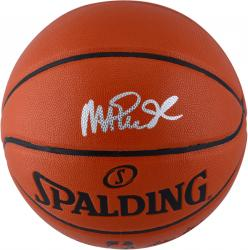 Magic Johnson Los Angeles Lakers Autographed Spalding Indoor Outdoor Basketball with Silver Ink - Mounted Memories