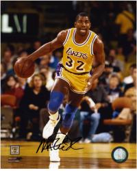 Magic Johnson Los Angeles Lakers Autographed 8'' x 10'' Dribble Photograph - Mounted Memories