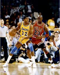 Magic Johnson Los Angeles Lakers Autographed 16'' x 20'' Dribbling vs. Michael Jordan Photograph