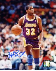 Magic Johnson Los Angeles Lakers Autographed 8'' x 10'' Dribbling Photograph - Mounted Memories