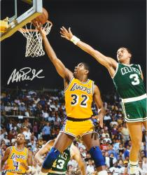 Magic Johnson Los Angeles Lakers Autographed 16'' x 20'' Layup vs. Boston Celtics Photograph - Mounted Memories
