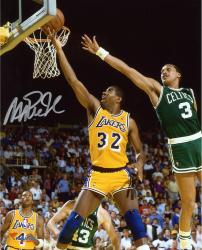 Magic Johnson Los Angeles Lakers Autographed 8'' x 10'' Layup vs Boston Celtics Photograph - Mounted Memories