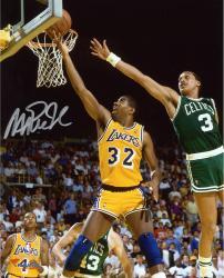 "Magic Johnson Los Angeles Lakers Autographed 8"" x 10"" Layup vs Boston Celtics Photograph"