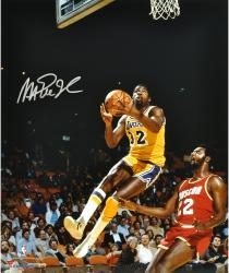 Magic Johnson Los Angeles Lakers Autographed 16'' x 20'' Layup vs Houston Rockets Photograph - Mounted Memories
