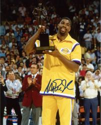 Magic Johnson Los Angeles Lakers Autographed 8'' x 10'' Gold Trophy Photograph - Mounted Memories