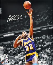 Magic Johnson Los Angeles Lakers Autographed 16'' x 20'' Pointing Down Photograph - Mounted Memories