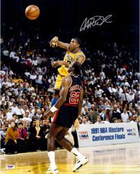 Magic Johnson Los Angeles Lakers Autographed 16'' x 20'' vs. Clyde Drexler Photograph