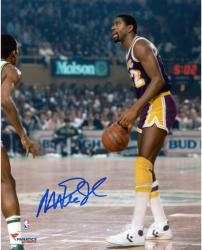 Magic Johnson Los Angeles Lakers Autographed 8'' x 10'' Dribble vs Boston Celtics Photograph - Mounted Memories