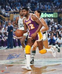 "Magic Johnson Los Angeles Lakers Autographed 16"" x 20"" Trophy Photograph -"