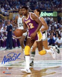 Magic Johnson Los Angeles Lakers Autographed 8'' x 10'' Purple Uniform Dribbling Photograph - Mounted Memories