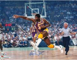 Magic Johnson Los Angeles Lakers Autographed 16'' x 20'' Dribble vs Boston Celtics Photograph - Mounted Memories