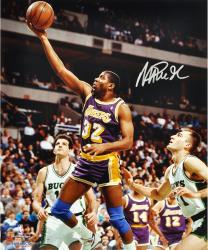 Magic Johnson Los Angeles Lakers Autographed 16'' x 20'' vs. Milwaukee Bucks Photograph - Mounted Memories