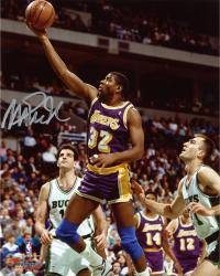 Magic Johnson Los Angeles Lakers Autographed 8'' x 10'' Layup vs Milwaukee Bucks Photograph - Mounted Memories