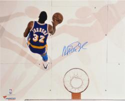 Magic Johnson Los Angeles Lakers Autographed 16'' x 20'' Layup over Kevin McHale Photograph - Mounted Memories