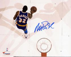 Magic Johnson Los Angeles Lakers Autographed 8'' x 10'' Overhead Photograph - Mounted Memories