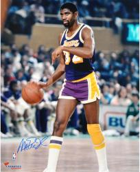 Magic Johnson Los Angeles Lakers Autographed 16'' x 20'' Purple Uniform Dribbling Photograph - Mounted Memories