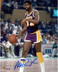 Magic Johnson Los Angeles Lakers Autographed 8'' x 10'' Pointing Down Photograph - Mounted Memories