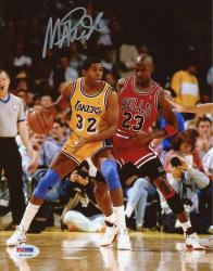 JOHNSON, MAGIC AUTO (LAKERS/VS JORDAN/VERT) 8X10 PHOTO - Mounted Memories