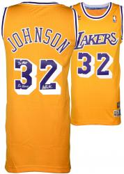 Magic Johnson Los Angeles Lakers Autographed Adidas Swingman Gold Jersey with Multiple Inscription