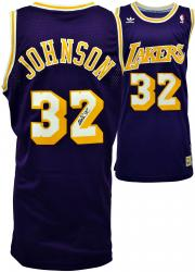 Magic Johnson Los Angeles Lakers Autographed Adidas Swingman Purple Jersey