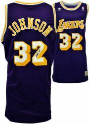 Magic Johnson Los Angeles Lakers Autographed Adidas Swingman Purple Jersey