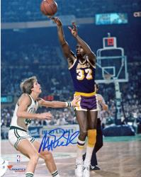 Magic Johnson Los Angeles Lakers Autographed 8'' x 10'' Jump Shot vs Boston Celtics Photograph - Mounted Memories