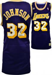 "Magic Johnson Los Angeles Lakers Autographed adidas Swingman Purple Jersey with ""Showtime"" Inscription - Mounted Memories"