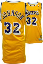 "adidas Magic Johnson Los Angeles Lakers Autographed Swingman Jersey with ""Showtime"" Inscription - Yellow"