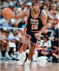 Magic Johnson Team USA Autographed 16'' x 20'' Dribbling Photograph - Mounted Memories