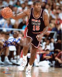 Magic Johnson Team USA Autographed 8'' x 10'' Dribbling Photograph - - Mounted Memories