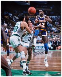 Magic Johnson Los Angeles Lakers Autographed 16'' x 20'' vs Boston Celtics Photograph - Mounted Memories