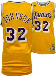 Magic Johnson Los Angeles Lakers Autographed Adidas Swingman Yellow Jersey - Mounted Memories