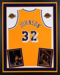 Magic Johnson Los Angeles Lakers Autographed Deluxe Framed Adidas Swingman Yellow Jersey