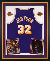 "Magic Johnson Autographed Lakers Jersey - ""HOF"" Inscribed, Deluxe Framed"
