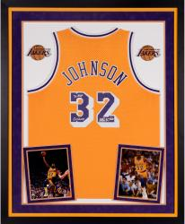 Magic Johnson Autographed Lakers Jersey - Multiple Inscriptions, Deluxe Framed
