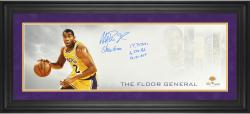 "Magic Johnson Los Angeles Lakers Framed Autographed 10"" x 30"" Floor General Photograph with Multiple Inscriptions-Limited Edition of 32"