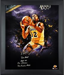 Magic Johnson Los Angeles Lakers Framed Autographed 20'' x 24'' In Focus Photograph with Multiple Inscriptions-Limited Edition of 32 - Mounted Memories