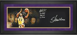 Magic Johnson Los Angeles Lakers Framed Autographed 10'' x 30'' Film Strip Photograph with Multiple Inscriptions-Limited Edition of 32 - Mounted Memories