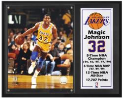 "Los Angeles Lakers Magic Johnson 12"" x 15"" Plaque with 8"" x 10"" Photograph & Plate"