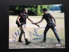 Jon Bernthal & Norman Reedus Signed 11x14 Photo The Walking Dead Cast Psa Coa