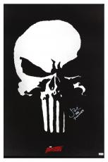 "Jon Bernthal Signed Full Size Punisher Logo Daredevil Poster with ""The Punisher"" Inscription"