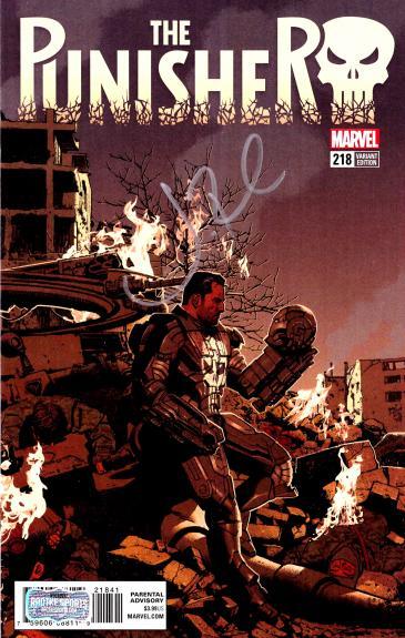 Jon Bernthal Signed Marvel Punisher Iron Man Mask Cover #218 Comic