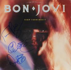 Jon Bon Jovi, Richie Sambora, David Bryan & Tico Torres Autographed Bon Jovie 7800 Fahrenheit Album Cover - PSA/DNA LOA