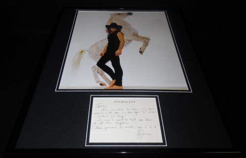 Jon Bon Jovi Signed Framed 16x20 Hand Written Note & Photo Set JSA