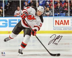 "Jon Merrill New Jersey Devils Autographed White Jersey Shooting 8"" x 10"" Photograph"